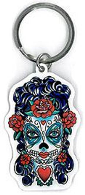 Lady Butterfly Sugar Skull Key Ring
