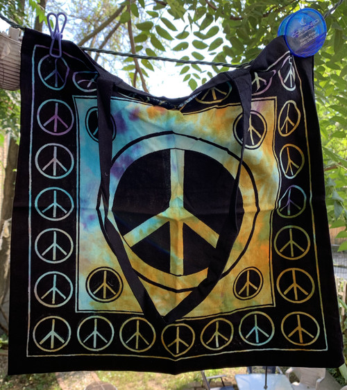Cotton Peace Sign Tote Bag