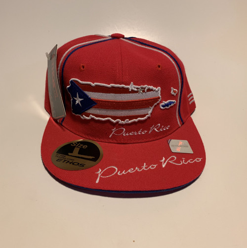 Red Baseball Cap with Emblazoned Puerto Rican Flag on Front