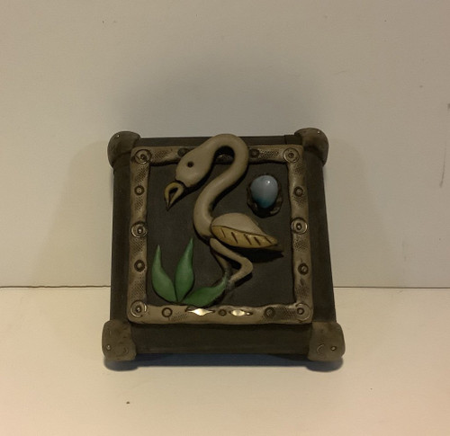 Flamingo Small Wood Jewelry Trinket Box