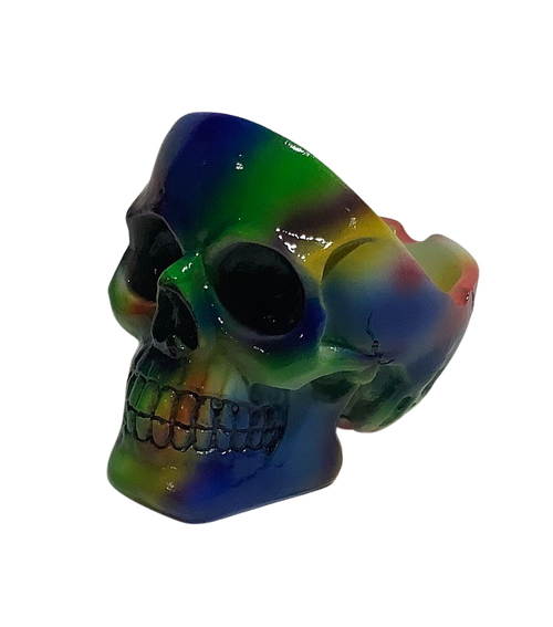 Tie Dye 4 inch Skull Ashtray