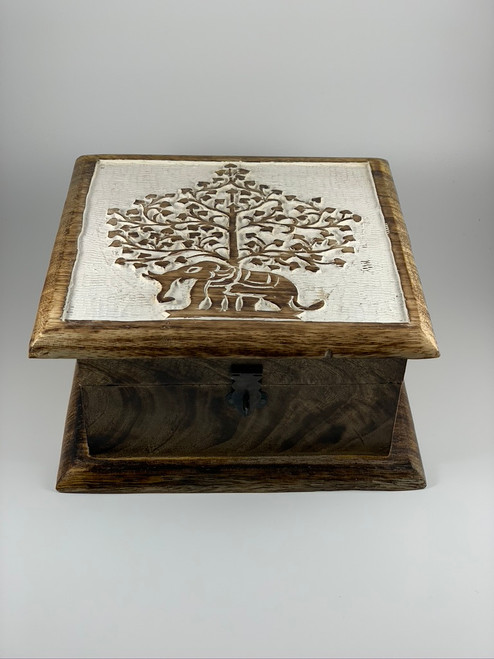 Elephant Tree of Life Decorative Wood Box