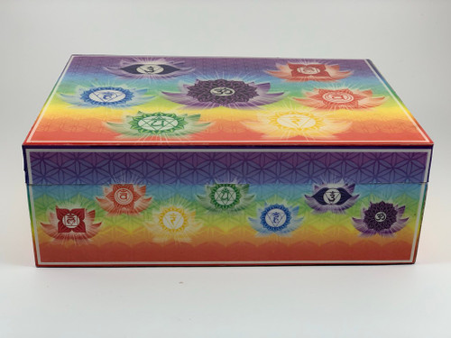 "Decorative 7 Chakras Velvet Lined Printed Box 5""x7"""