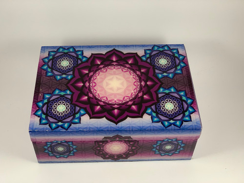 "Flower of Life Velvet Lined Decorative Wood Box 5""x7"""