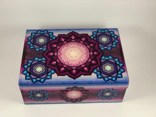 "Flower of Life Velvet Lined Decorative Wood Box 5""x7"""