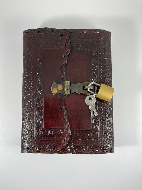Embossed and Stitched Leather Journal with Lock and Key 5x7 inches
