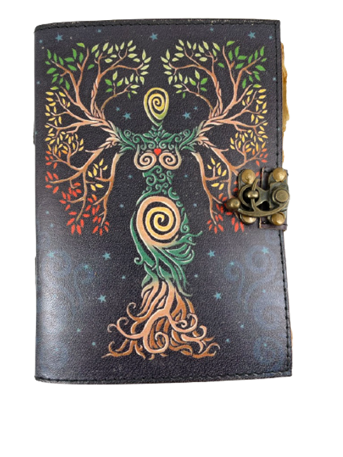 Color Goddess Tree of Life Leather Journal 5 x 7 Inches with Aged Pages