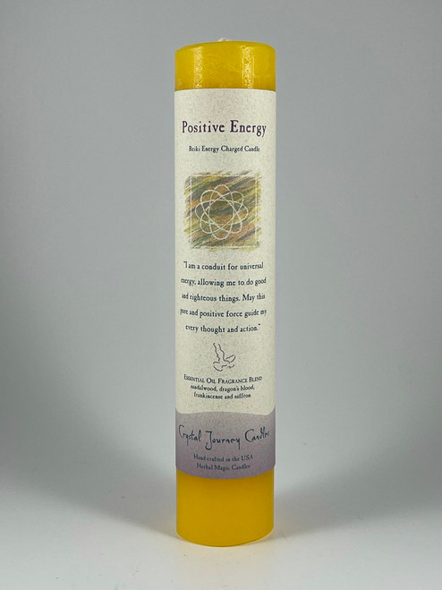 Positive Energy - Reiki Herbal Pillar Candle by Crystal Journey Candles