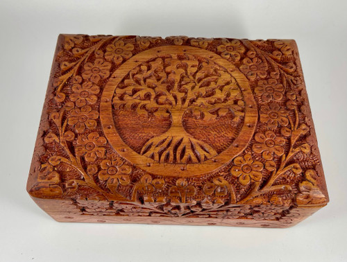 Carved Tree of Life Wood Box 5x7 Inches