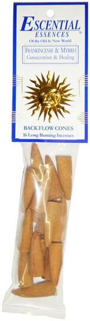 Frankincense and Myrrh Escential Essence Backflow Cones, 16 pieces per package