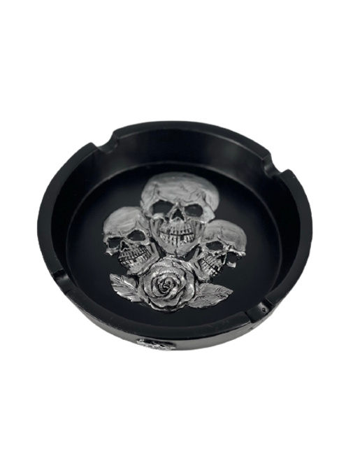 Large Black Ashtray with Three Skulls and a Rose Design 6 inches in Diameter