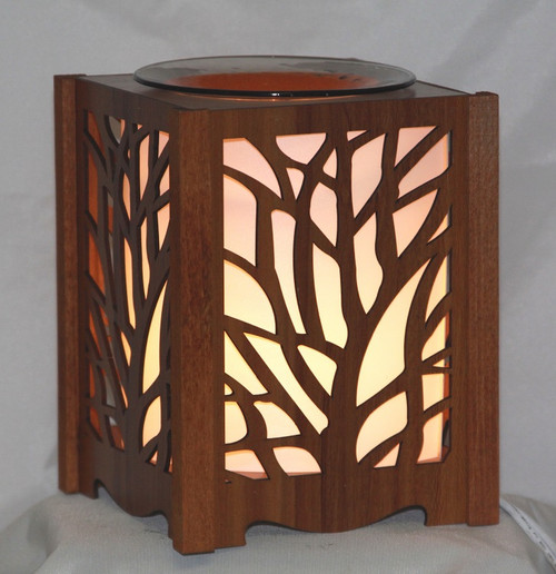 Tree Wood Lantern Style Fragrance Lamp for tarts or scented oils. comes with a dimmer switch