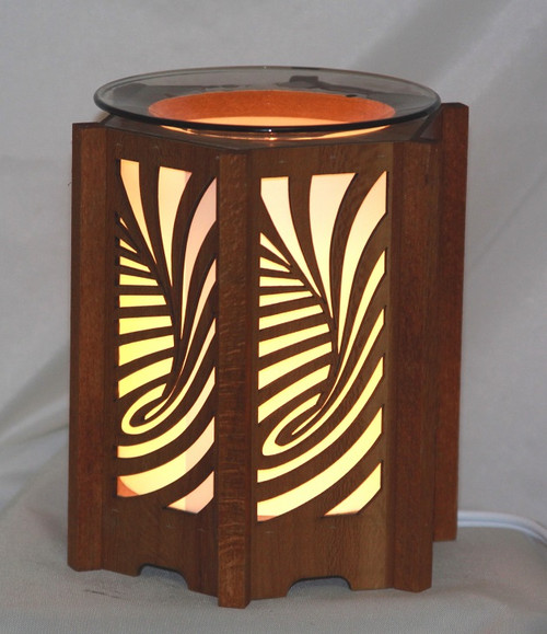Swirl Design Wood Lantern Style Fragrance lamp for tarts or scented oils