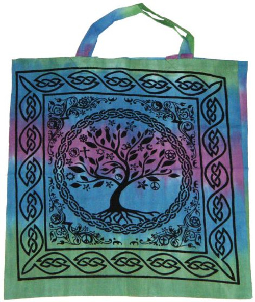 Tree of Life Tie Dye Cotton Tote Bag