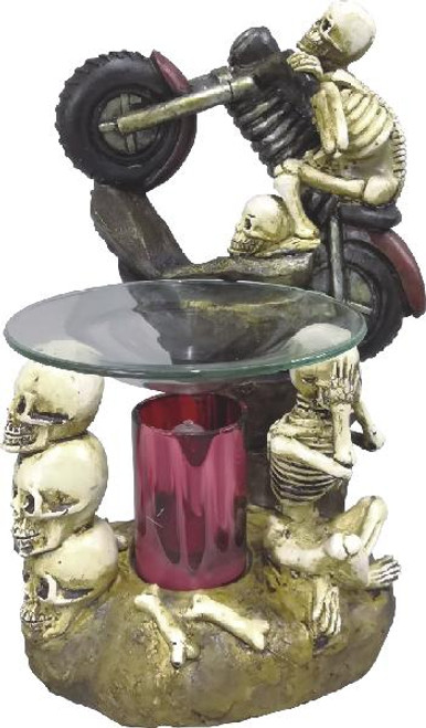 Skull on Motorcycle Polyresin Essential Oils Fragrance Aroma Lamp