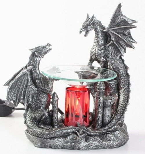 Double Dragon Polyresin Fragrance Lamp for Essential Oils and Tarts