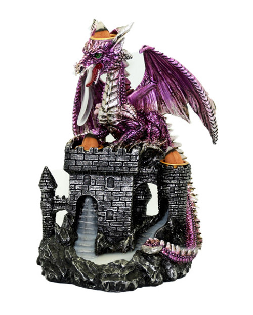 Purple Dragon on Castle large backflow Cones incense burner