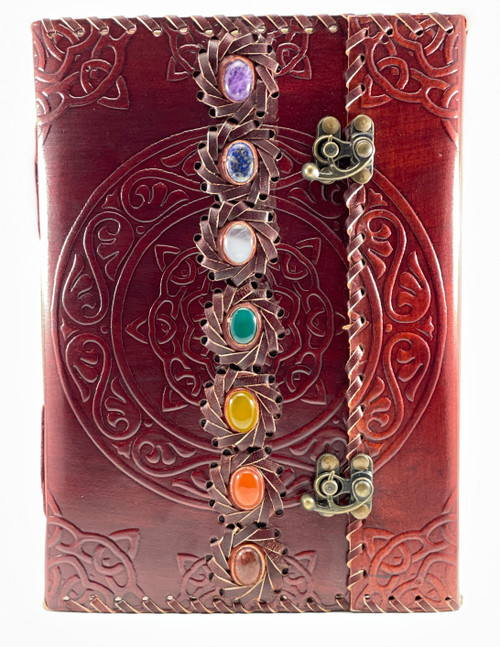 """Leather 7 Chakras Journal 10""""x 7"""" Recycled paper pages."""