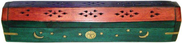 Mutli-Color Celestial Design Wood Coffin Style Incense Burner