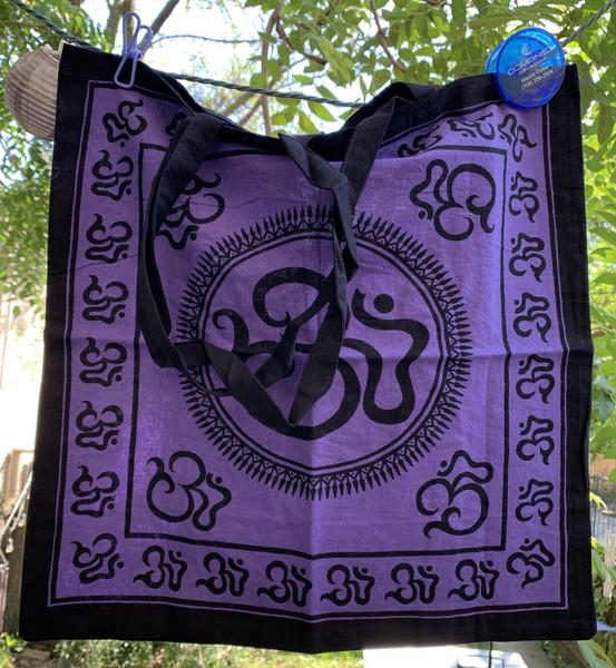 Om Symbol Design Cotton Tote Shoulder Bag