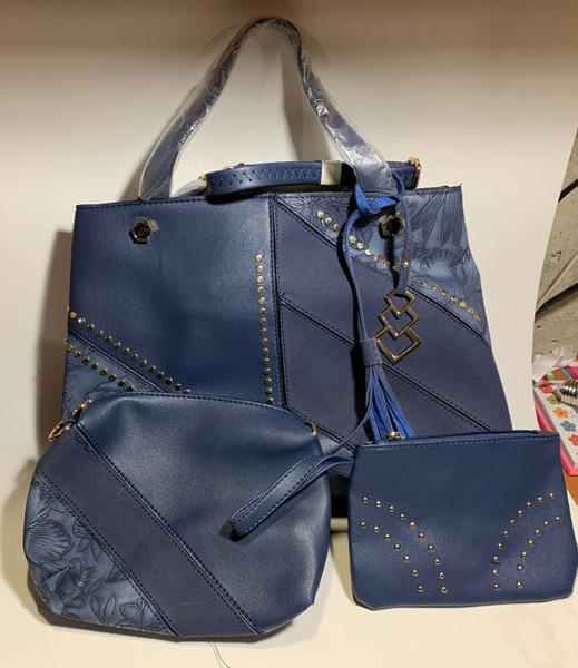 Decorative Navy Blue Handbag Set - 3 Piece