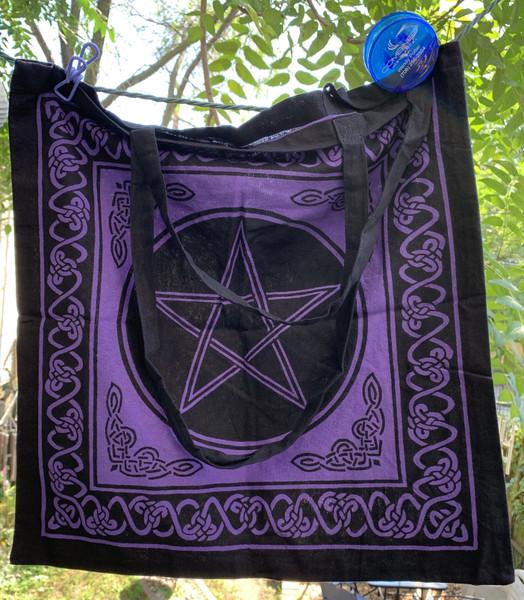 Wiccan Pentagram Symbol Tote Shoulder Bag Cotton