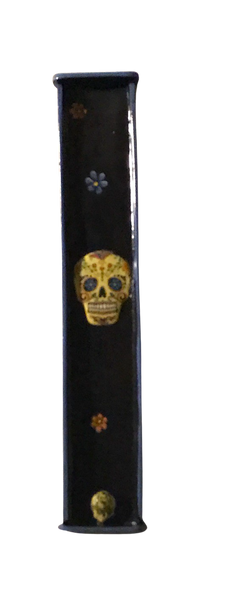 Day of the Dead Yellow Sugar Skull Flat Incense Holder