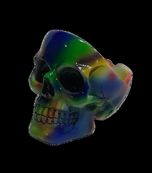 Tie Dye 4 inch Skull Ashtray