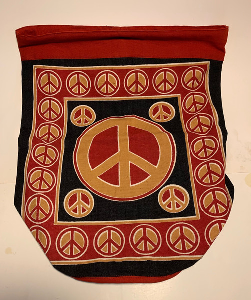 Peace Symbol Black and Red 17 Inch Cotton Backpack