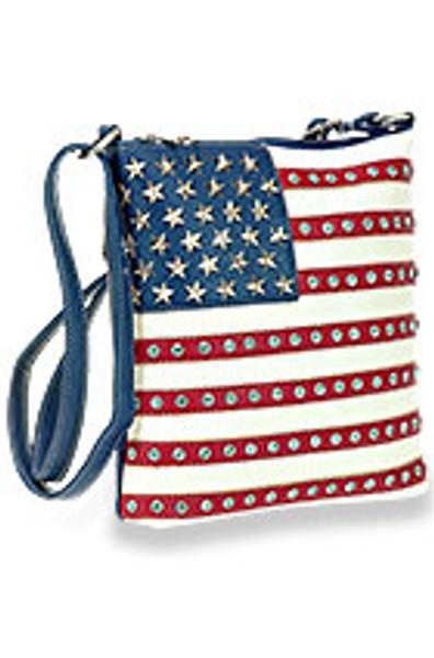 American Flag Rhinestone Crossbody Sling