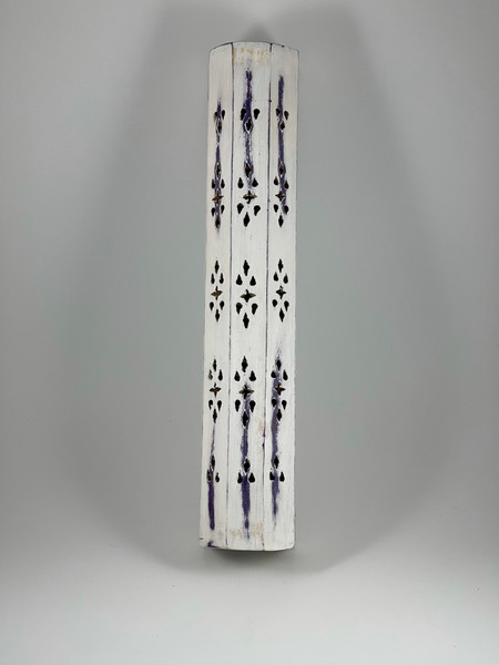 Distressed Look Purple and White Coffin Style Incense  Sticks and Cones Holder Burner Ash Catcher