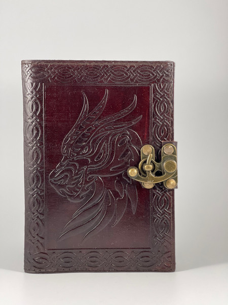 Embossed Leather 5x7 inches Celtic Dragon Design Journal with Metal Clasp Closure