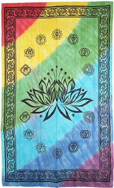 "Lotus Chakra Symbols Full Size Bedspread 72"" x 108"""