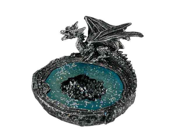 Silver Crystalized Dragon Ashtray