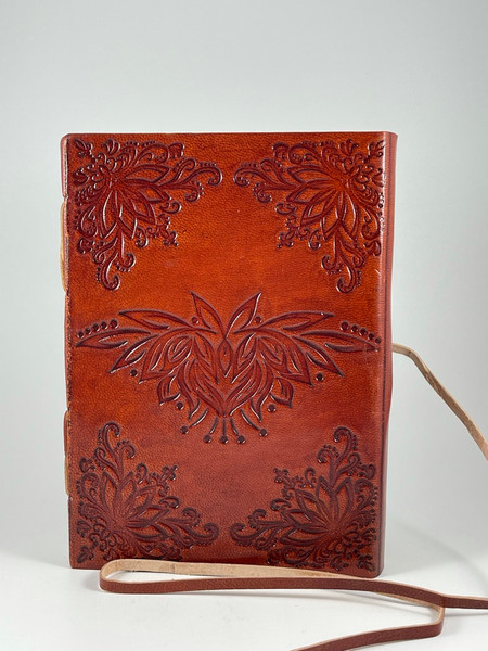 Embossed Lotus Flower Bound Journal Diary with Strap
