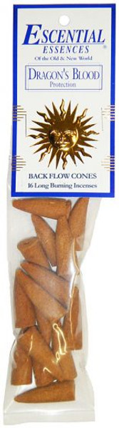 Dragons Blood Escential Essence Backflow Incense Cones, 16 pieces per package