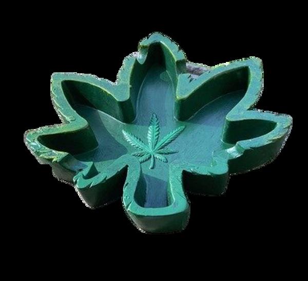 Hemp Leaf 5 inch ashtray green