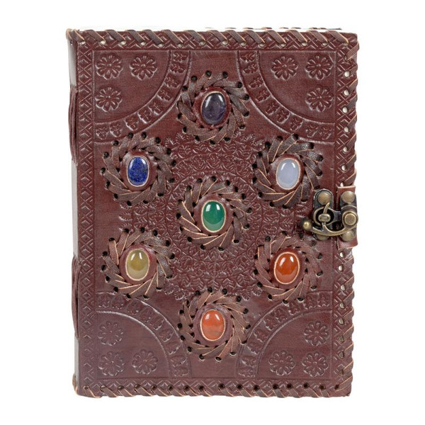 Seven Chakra Stones Leather bound journal 6 x 8 inches