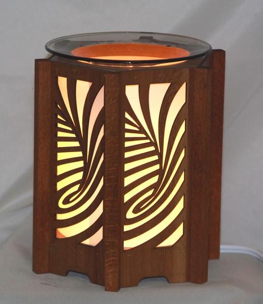 Swirl Design Wood Lantern Style Fragrance lamp for tarts or scented oils