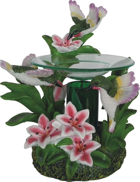 Polyresin Hummingbird Fragrance Lamp for Essential Oils and Tarts, use as a night light.