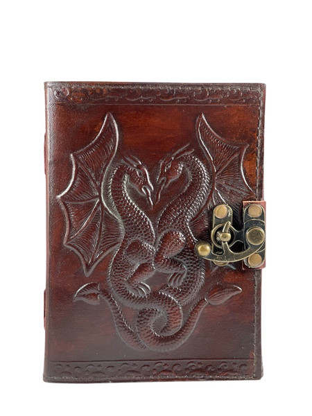 Double Dragon Embossed Leather Journal 5x7 inches