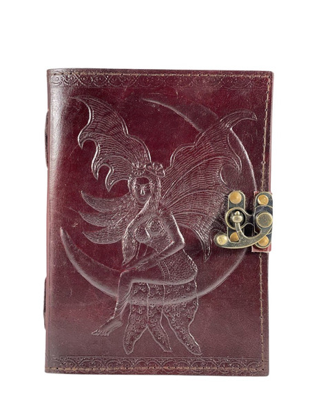 Fairy on the Moon Leather Embossed  Journal with linen handmade paper.