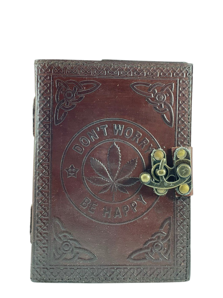 Don't Worry Be Happy Embossed Hemp Leaf Design 5x7 inches Handmade Stitched Journal