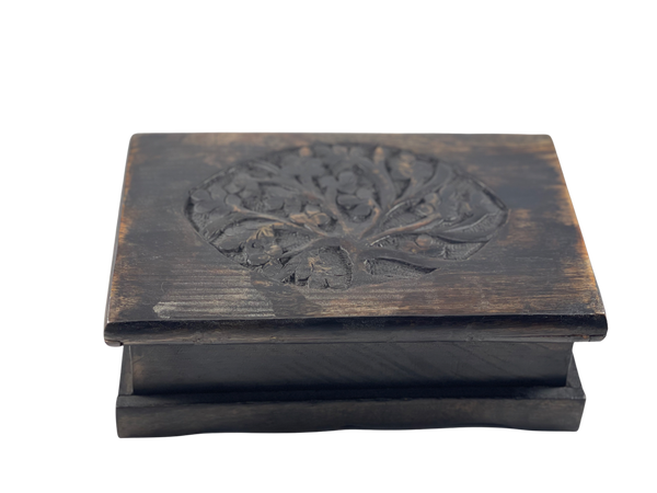 Tree of Life Carved Wood Box for Jewelry Trinkets or Tarot Cards