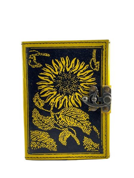 """Sunflower Design Leather Journal 5x7"""" with 120 pages"""