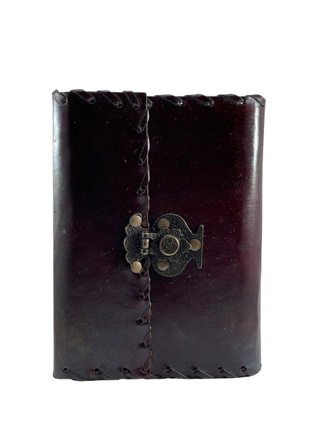 """Handmade Stitched Leather Journal with Clasp Closure 5""""x7"""""""