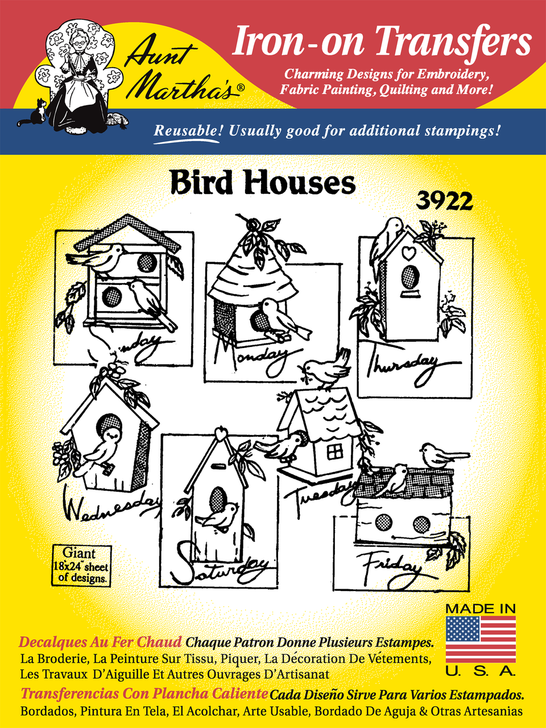 Aunt Martha's Embroidery Transfer Pattern #3922 Birdhouses