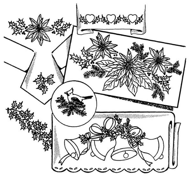 Aunt Martha's #3858 Poinsettias, Bells & Holly