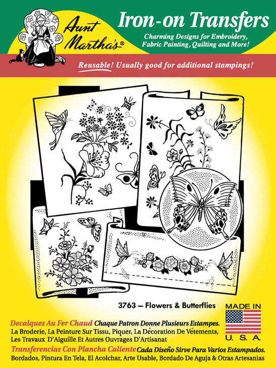 Aunt Martha's Embroidery Transfer Pattern #3763 Flowers & Butterflies