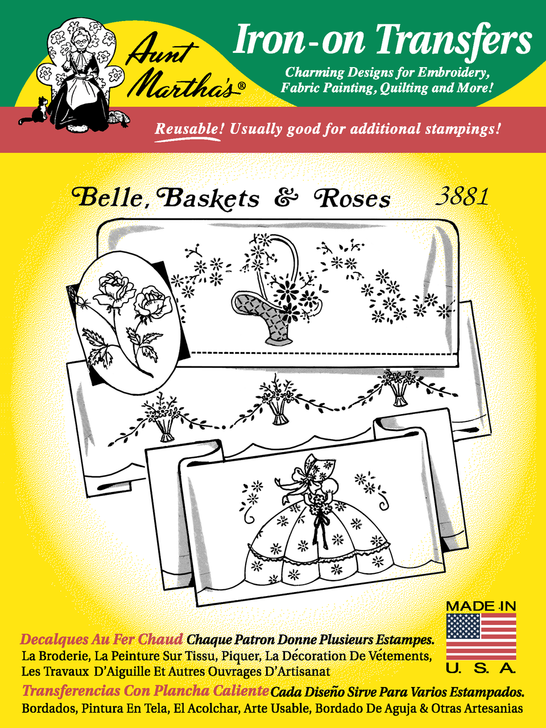 Aunt Martha's Embroidery Transfer Pattern #3881 Belle, Baskets, & Rose
